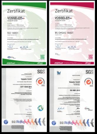 Zertifikate am Standort Aldingen